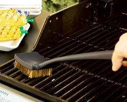 grill, grilling, clean, brush, brass