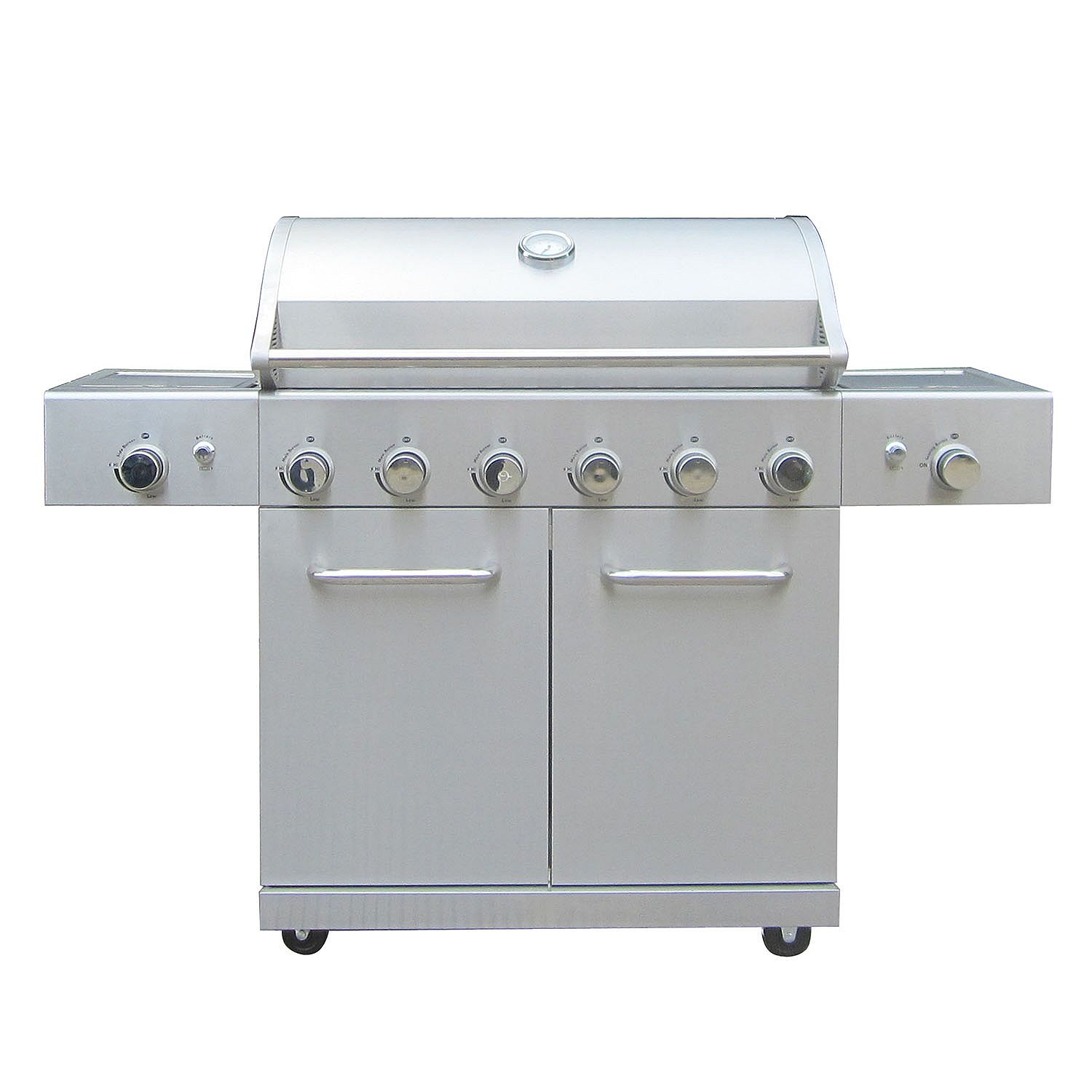 Stainless Steel Member's Mark Stand Alone Grill with 8 Knobs, 2 Side Burners and Cabinet Doors.