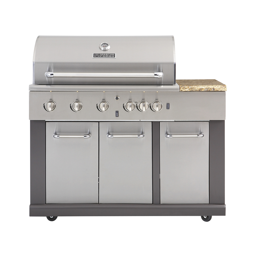 Master Forge BG179A Gas Grill Main Piece of Modular Outdoor System. Stainless Steel Grill with Six Knobs and a Side Table.