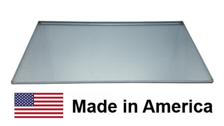 "New Drip Pan Grease Tray grill part replacement. Material is Galvanized steel and the part is rectangular in shape. There is an American Flag and the Words ""Made in America"""