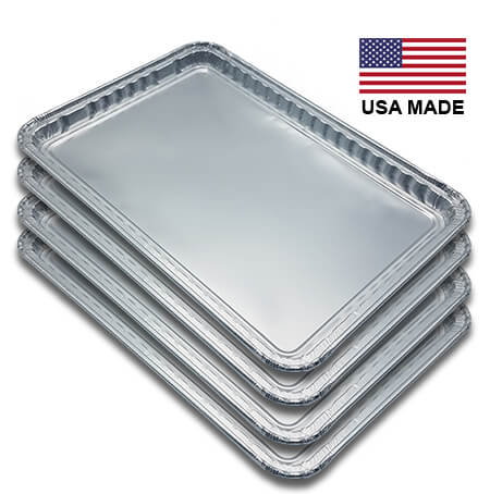 "New Drip Pan Grease Tray Liner grill part replacement. A set of four heavy-duty Aluminum pans, rectangular in shape. There is an American Flag and the Words ""Made in America"""
