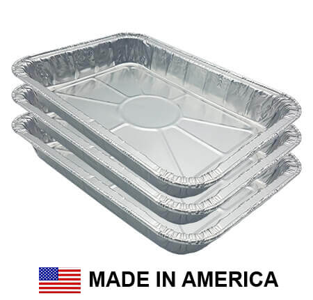 "New Drip Pan Grease Tray Liner grill part replacement. A set of three heavy-duty Aluminum pans, rectangular in shape. Include lip and are a replacement for Weber drip pans. There is an American Flag and the Words ""Made in America"""