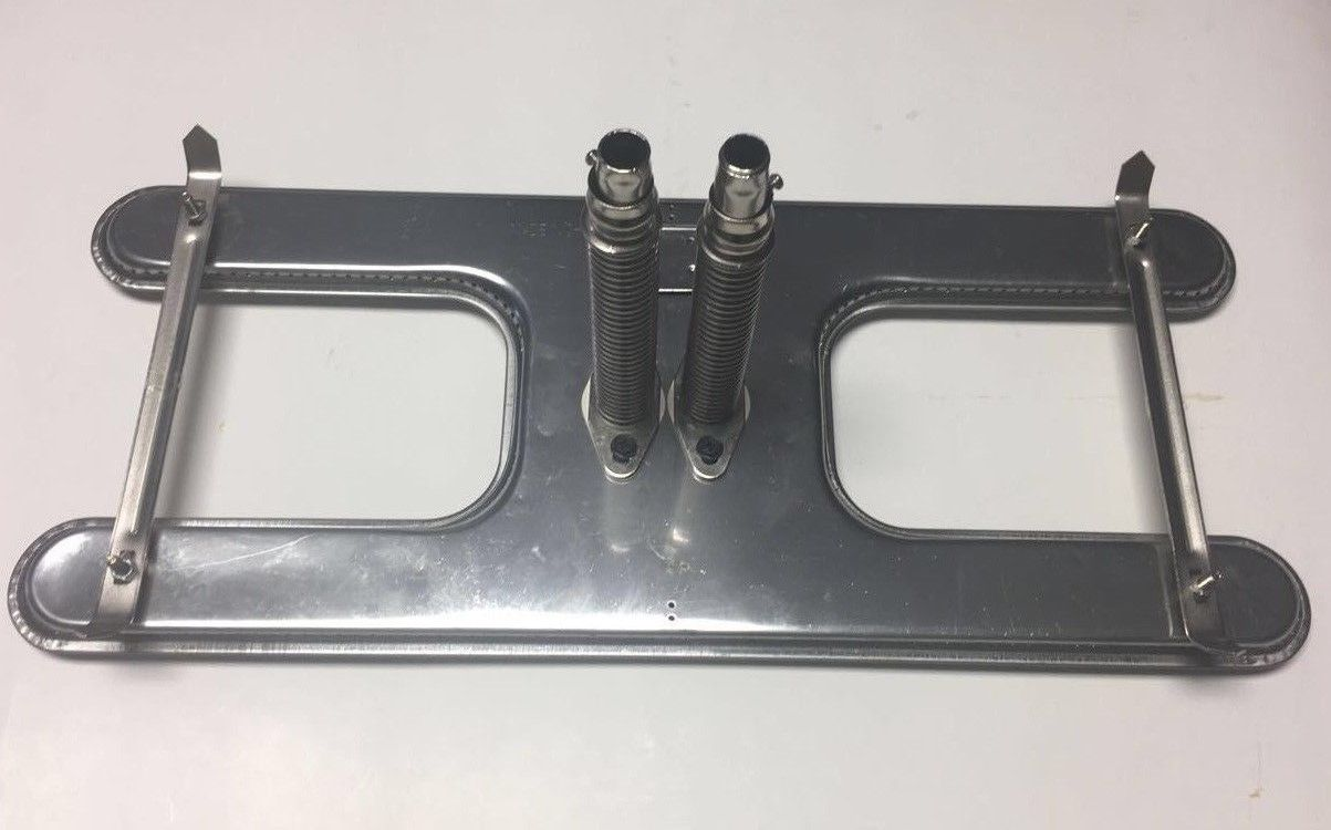 "Stainless Steel Large Twin Universal H Burner w/ Venturis - 19-1/4"" x 7-1/2"""